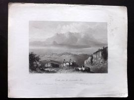 Wright 1846 Antique Print. Corinth, from the Acrocorinthus, Greece